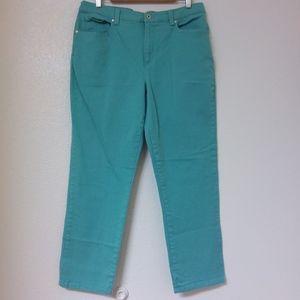 Vanderbilt Amanda Jeans 16 Short Turquoise Stretch